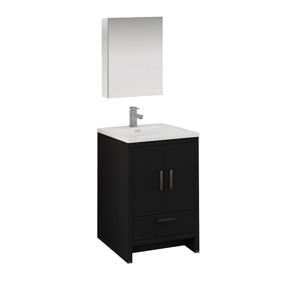 Fresca Imperia 24 inch Dark Gray Oak Free Standing Bathroom Vanity with Acrylic Top and Medicine Cabinet