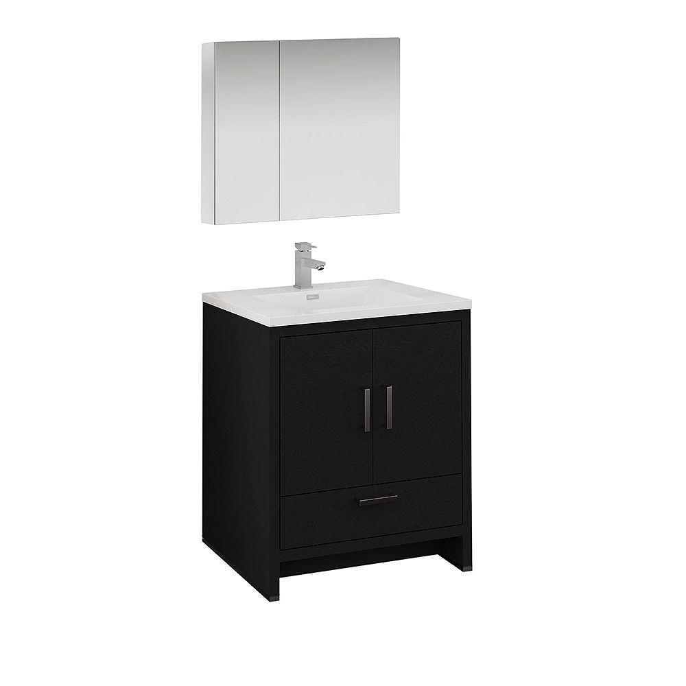 Fresca Imperia 30 inch Dark Gray Oak Free Standing Bathroom Vanity with Acrylic Top and Medicine Cabinet