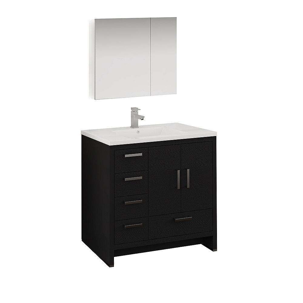 Fresca Imperia 36 in. Dark Gray Oak Free Standing Vanity with Acrylic Top, LHS Drawers and Medicine Cabinet