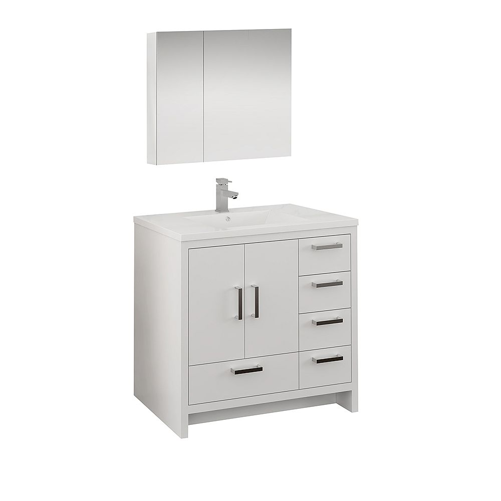 Fresca Imperia 36 inch Glossy White Free Standing Vanity with Acrylic Top, RHS Drawers and Medicine Cabinet