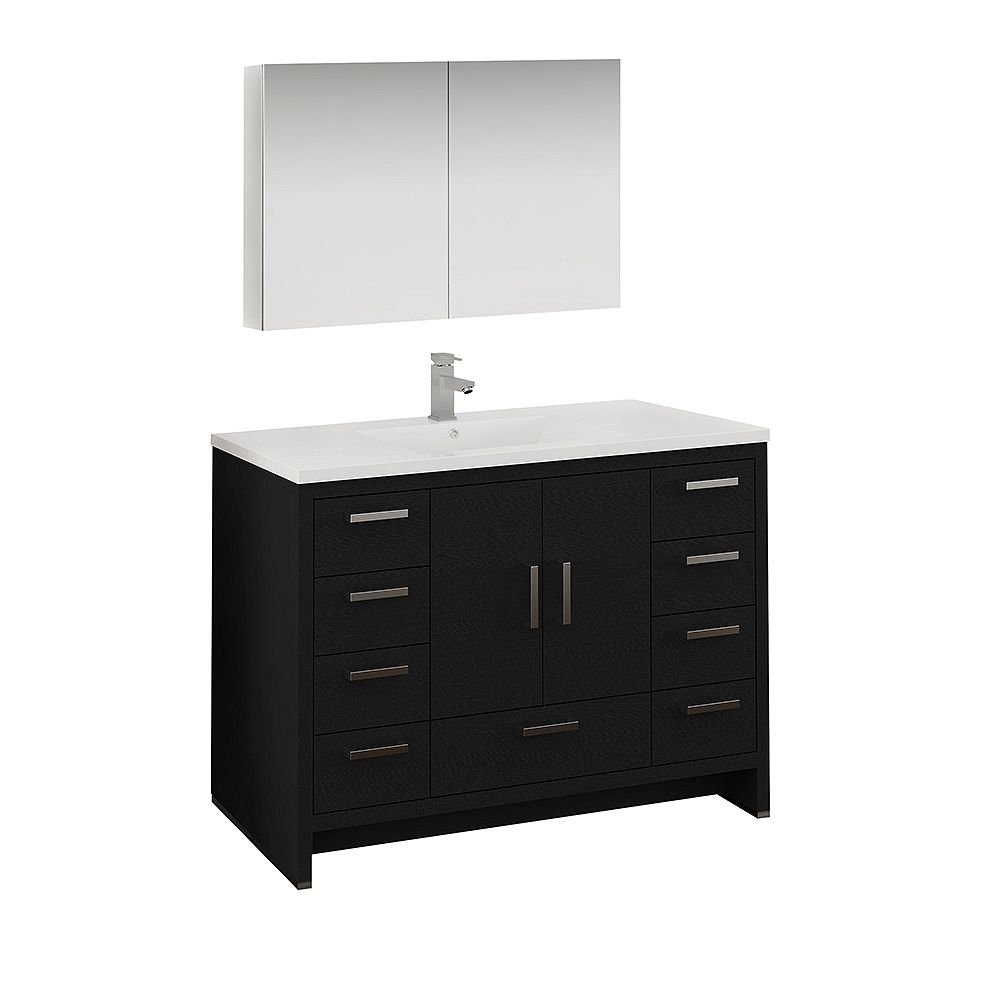 Fresca Imperia 48 inch Dark Gray Oak Free Standing Bathroom Vanity with Acrylic Top and Medicine Cabinet