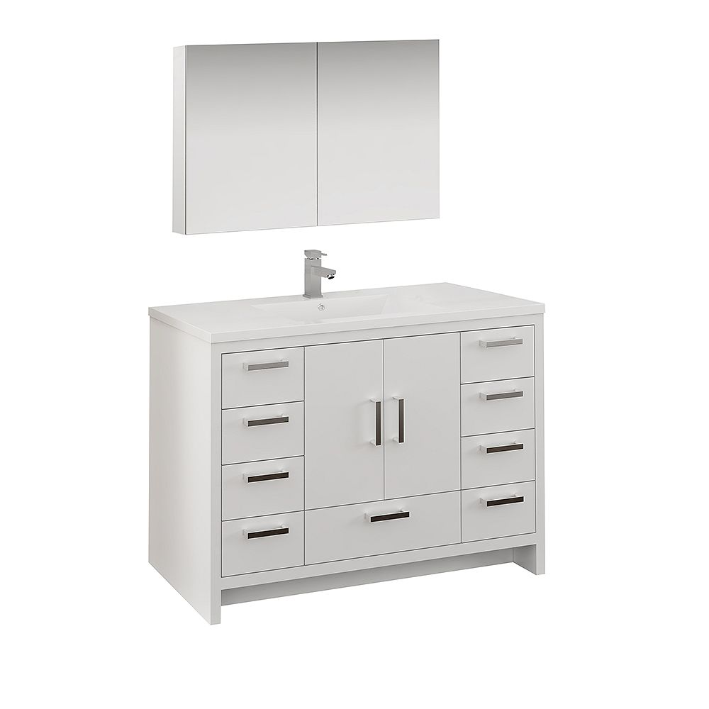 Fresca Imperia 48 inch Glossy White Free Standing Bathroom Vanity with Acrylic Top and Medicine Cabinet