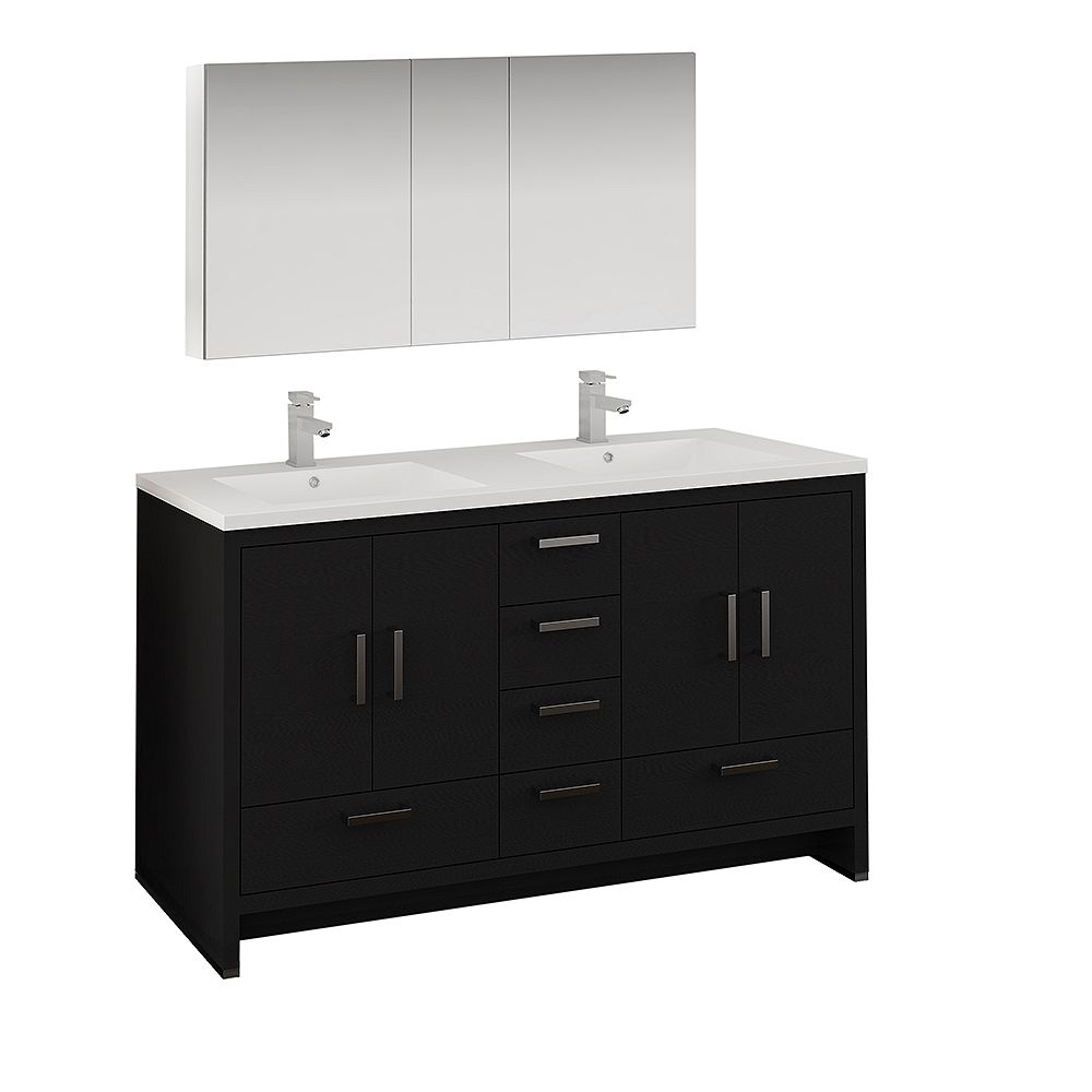 Fresca Imperia 60 inch Dark Gray Oak Free Standing Double Sink Vanity with Acrylic Top and Medicine Cabinet