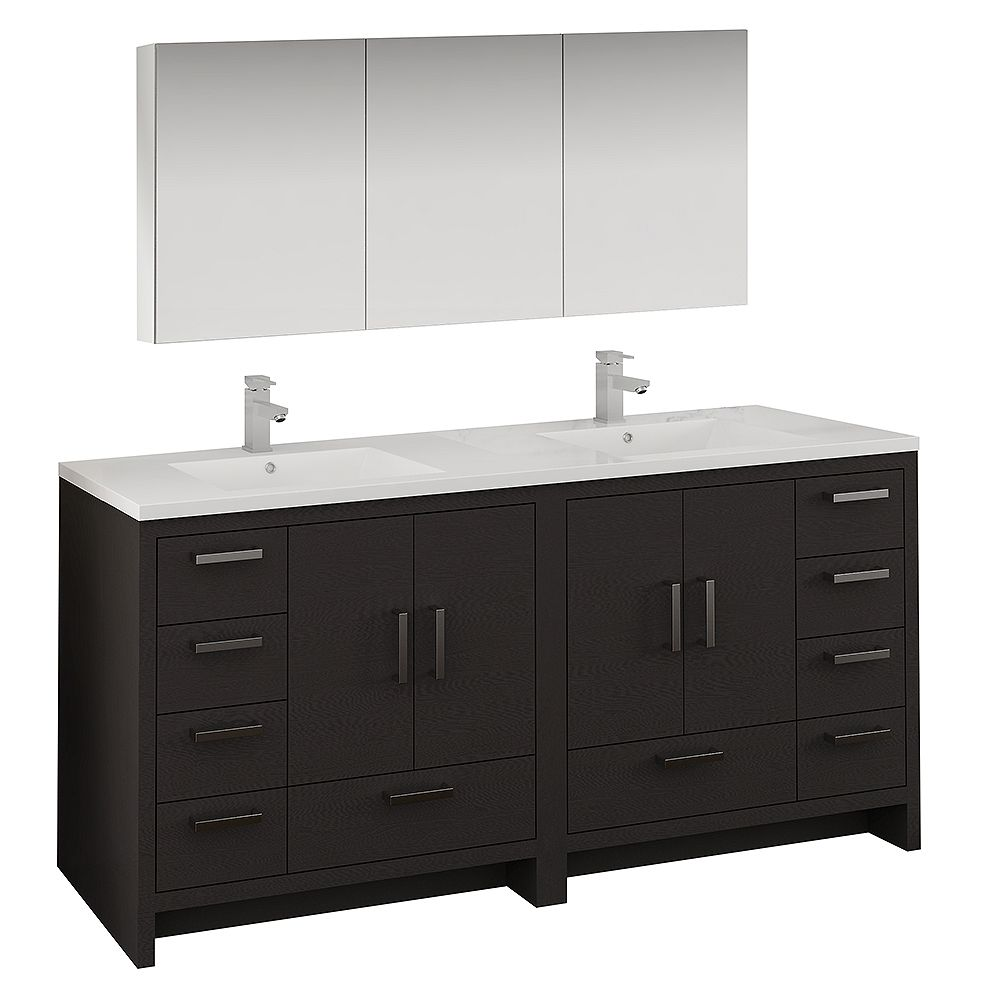 Fresca Imperia 72 inch Dark Gray Oak Free Standing Double Sink Vanity with Acrylic Top and Medicine Cabinet