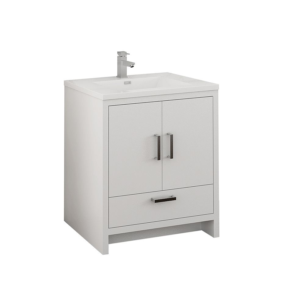 Fresca Imperia 30 inch Glossy White Free Standing Modern Bathroom Vanity with Acrylic Top
