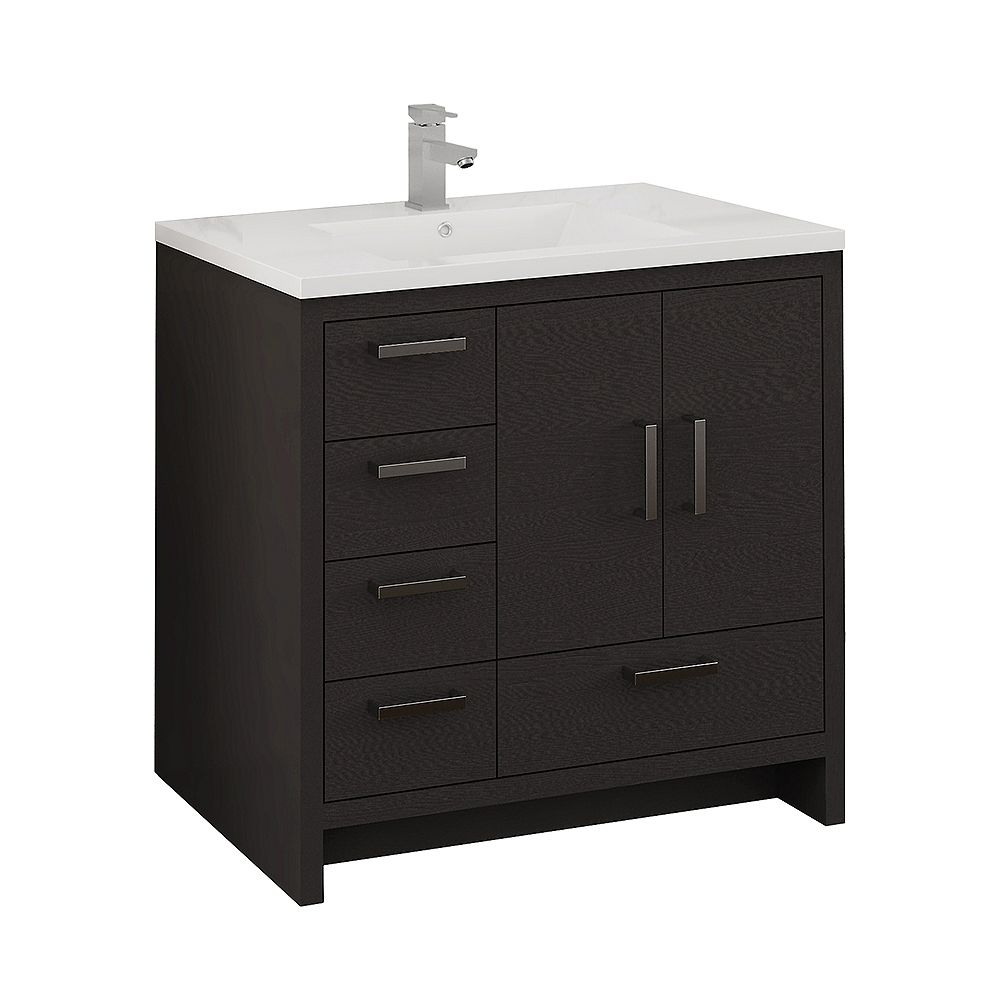 Fresca Imperia 36 inch Dark Gray Oak Free Standing Modern Bathroom Vanity with Acrylic Top and LHS Drawers