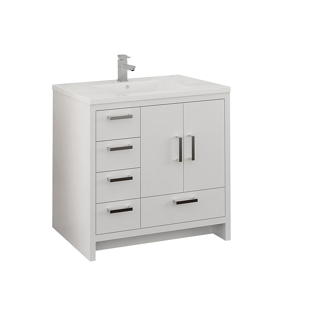 Fresca Imperia 36 inch Glossy White Free Standing Modern Bathroom Vanity with Acrylic Top and LHS Drawers