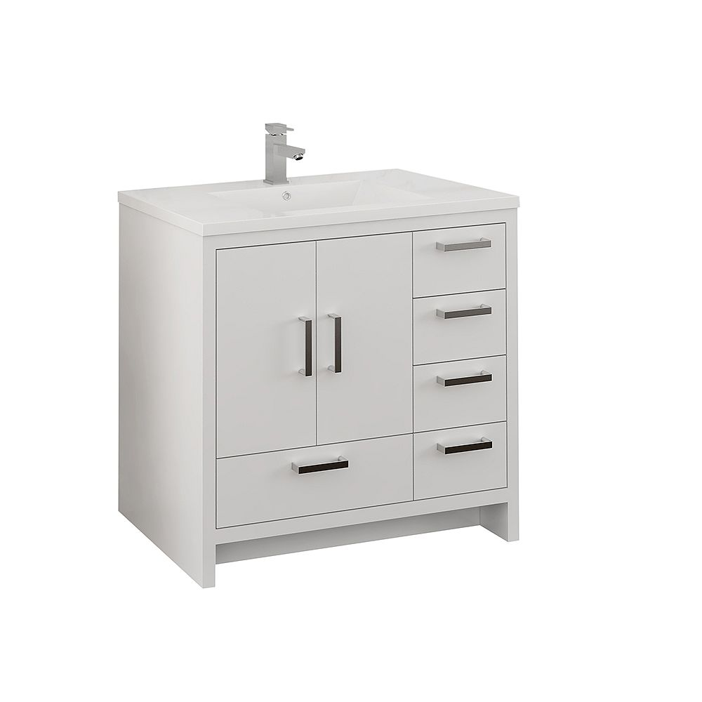 Fresca Imperia 36 inch Glossy White Free Standing Modern Bathroom Vanity with Acrylic Top and RHS Drawers