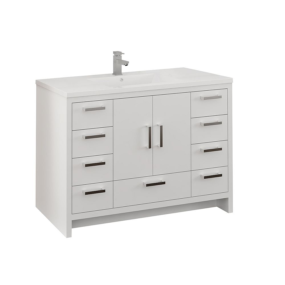 Fresca Imperia 48 inch Glossy White Free Standing Modern Bathroom Vanity with Acrylic Top