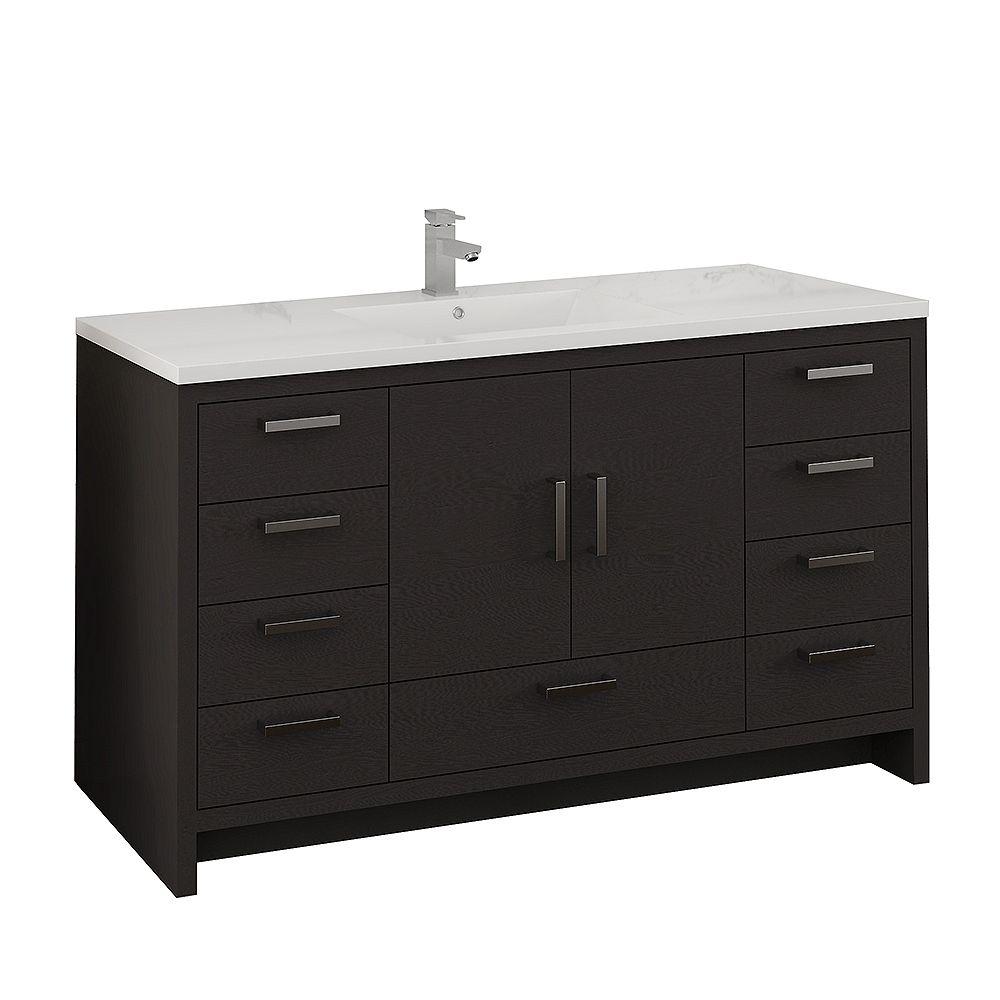 Fresca Imperia 60 inch Dark Gray Oak Free Standing Modern Bathroom Vanity with Acrylic Top