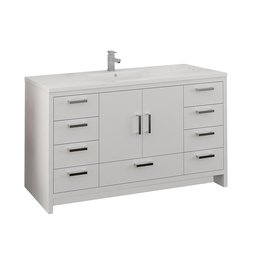 Fresca Imperia 60 inch Glossy White Free Standing Modern Bathroom Vanity with Acrylic Top