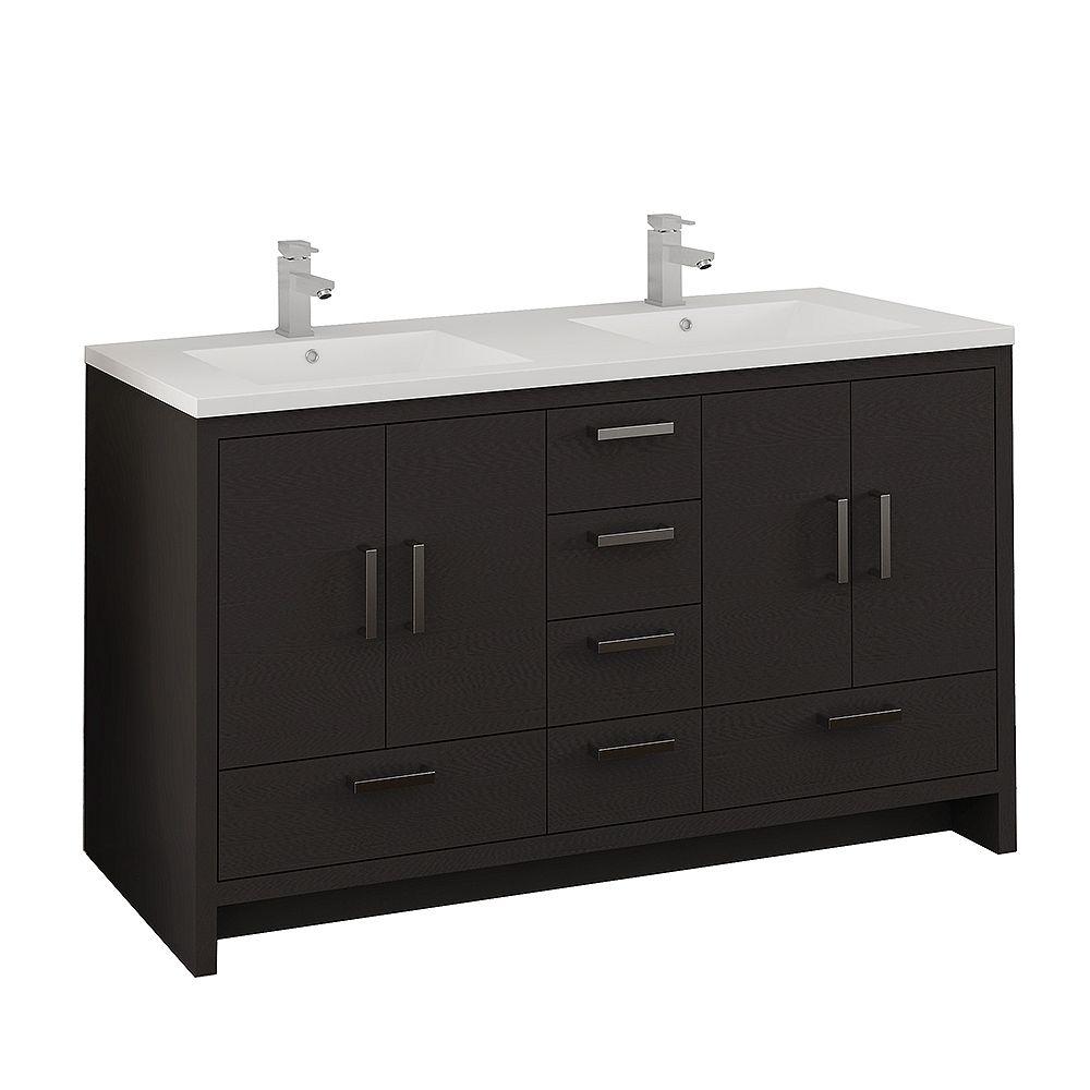 Fresca Imperia 60 inch Dark Gray Oak Free Standing Modern Bathroom Double Sink Vanity with Acrylic Top