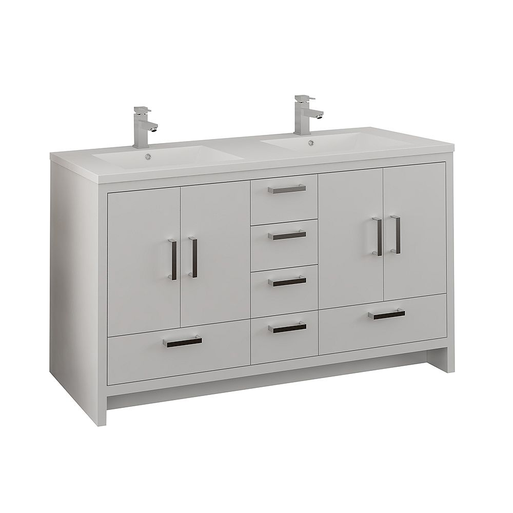 Fresca Imperia 60 inch Glossy White Free Standing Modern Bathroom Double Sink Vanity with Acrylic Top