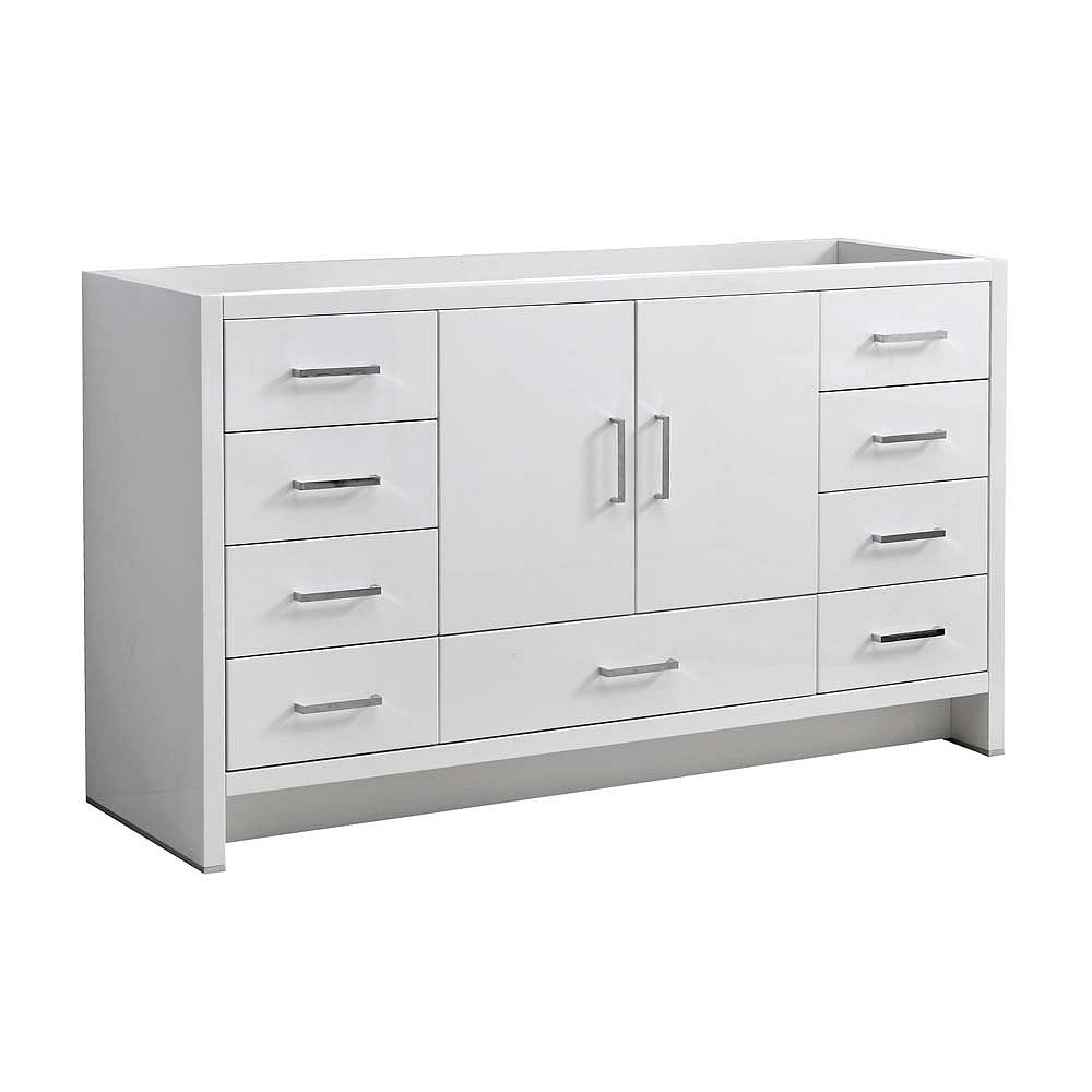Fresca Imperia 59 inch Glossy White Free Standing Modern Bathroom Vanity Only