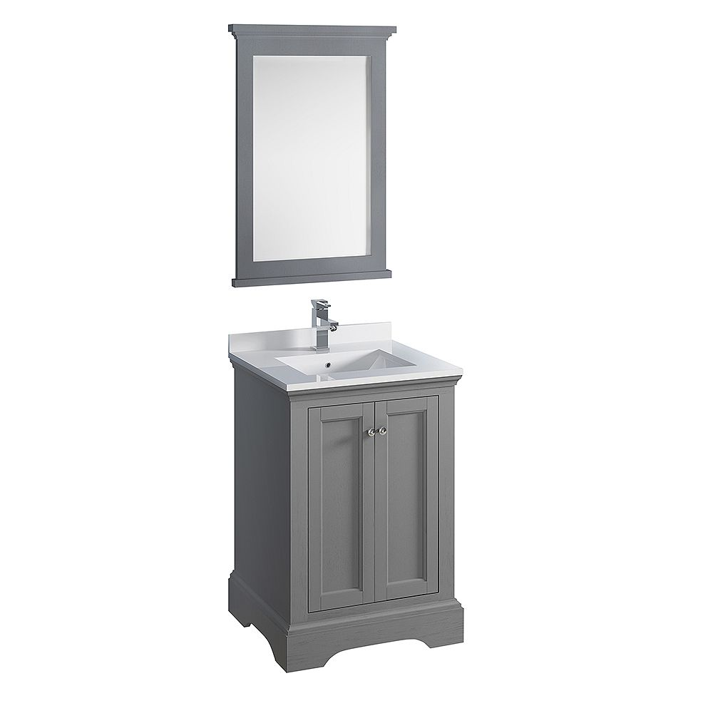 Fresca Windsor 24 inch Gray Textured Traditional Bathroom Vanity with Quartz Stone Top with Mirror