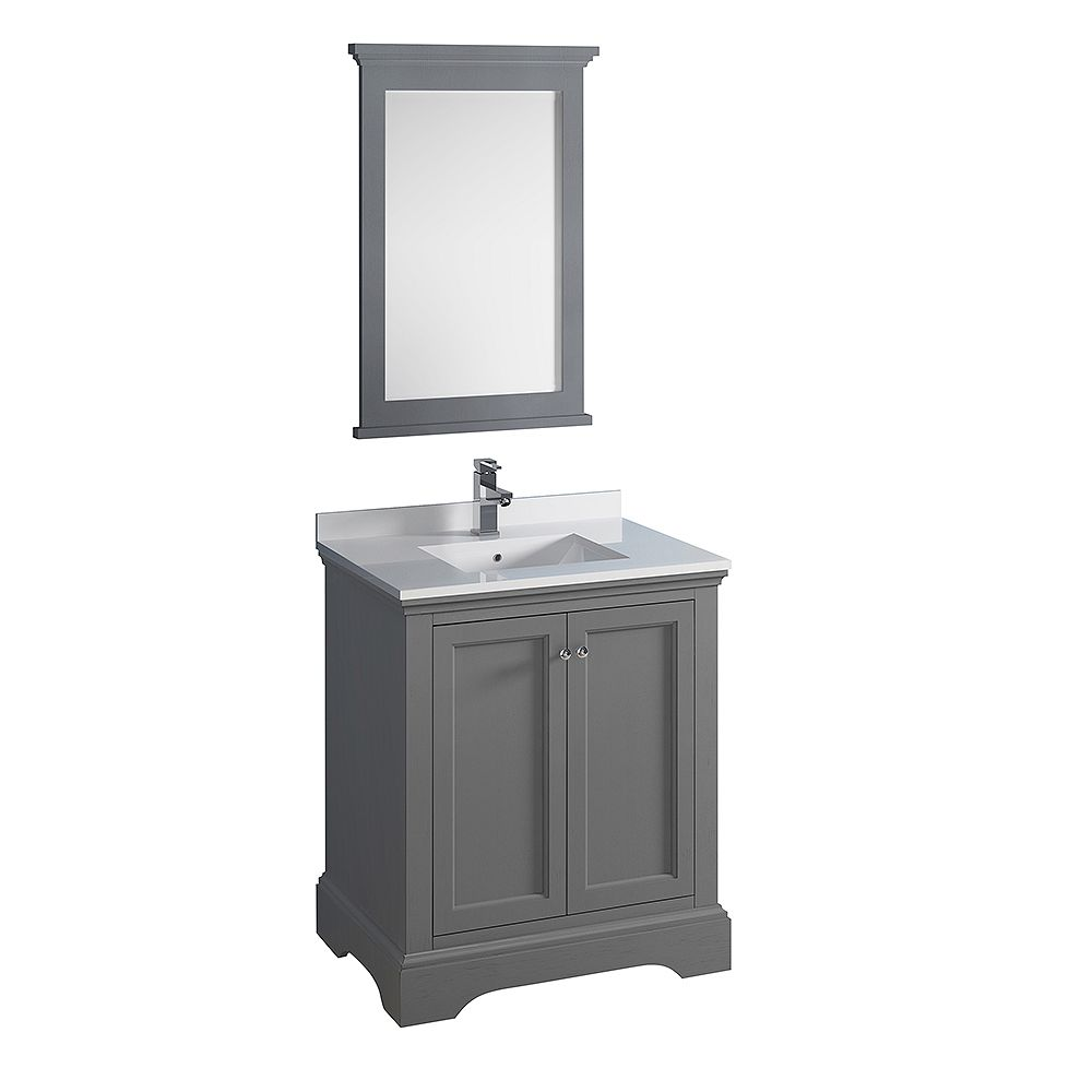 Fresca Windsor 30 inch Gray Textured Traditional Bathroom Vanity with Quartz Stone Top with Mirror