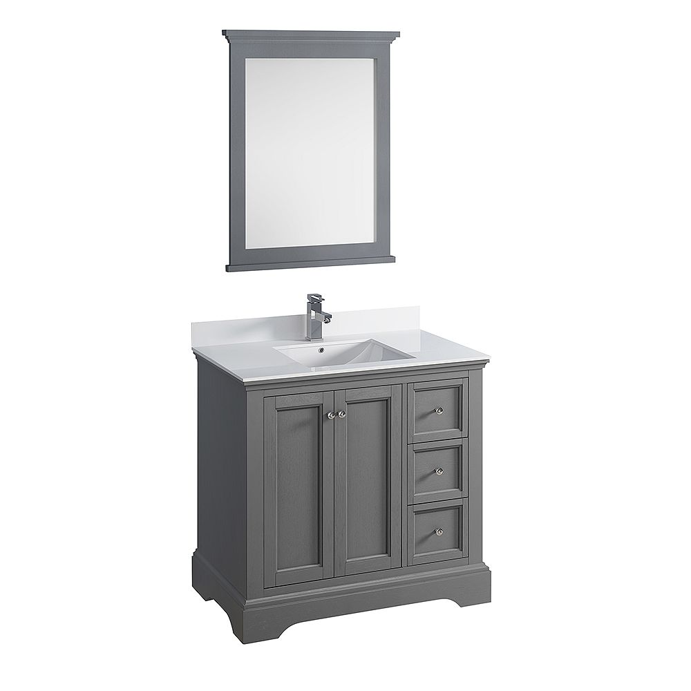Fresca Windsor 36 inch Gray Textured Traditional Bathroom Vanity with Quartz Stone Top with Mirror