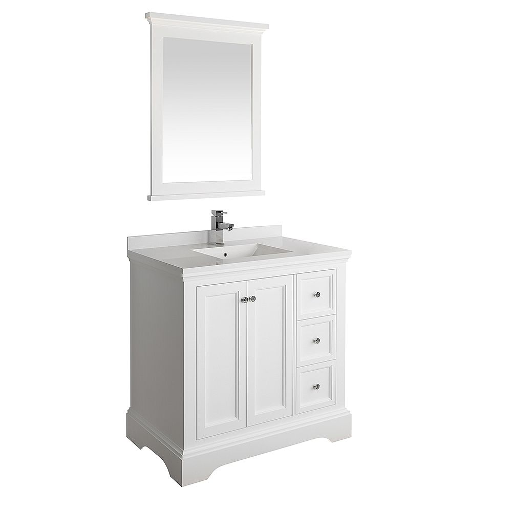 Fresca Windsor 36 inch Matte White Traditional Bathroom Vanity with Quartz Stone Top with Mirror