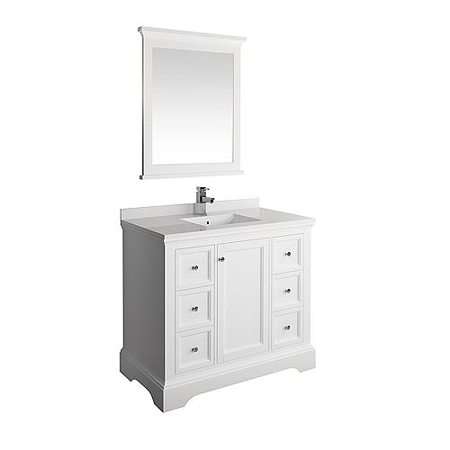 Fresca Windsor 40 inch Matte White Traditional Bathroom Vanity with Quartz Stone Top with Mirror