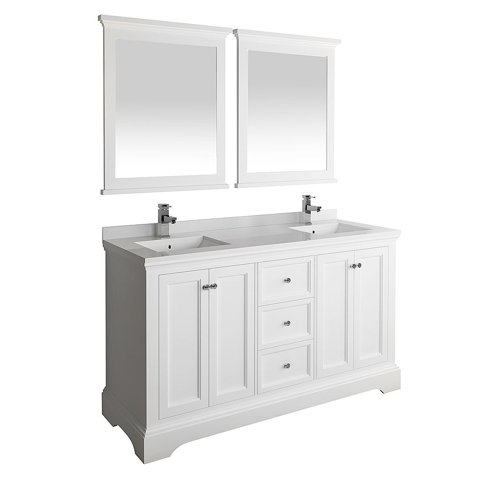 Fresca Windsor 60 inch Matte White Traditional Double Bathroom Vanity with Quartz Stone Top with Mirror