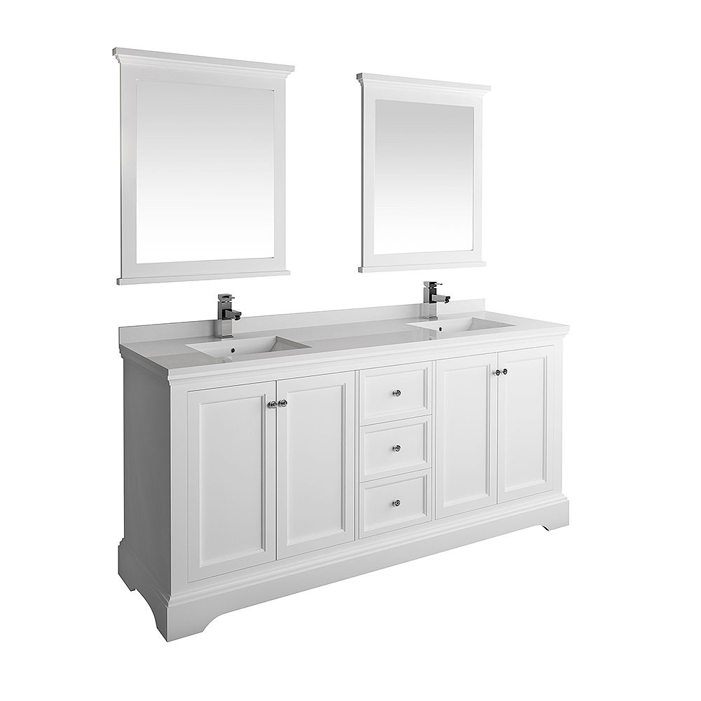 Fresca Windsor 72 inch Matte White Traditional Double Bathroom Vanity with Quartz Stone Top with Mirror