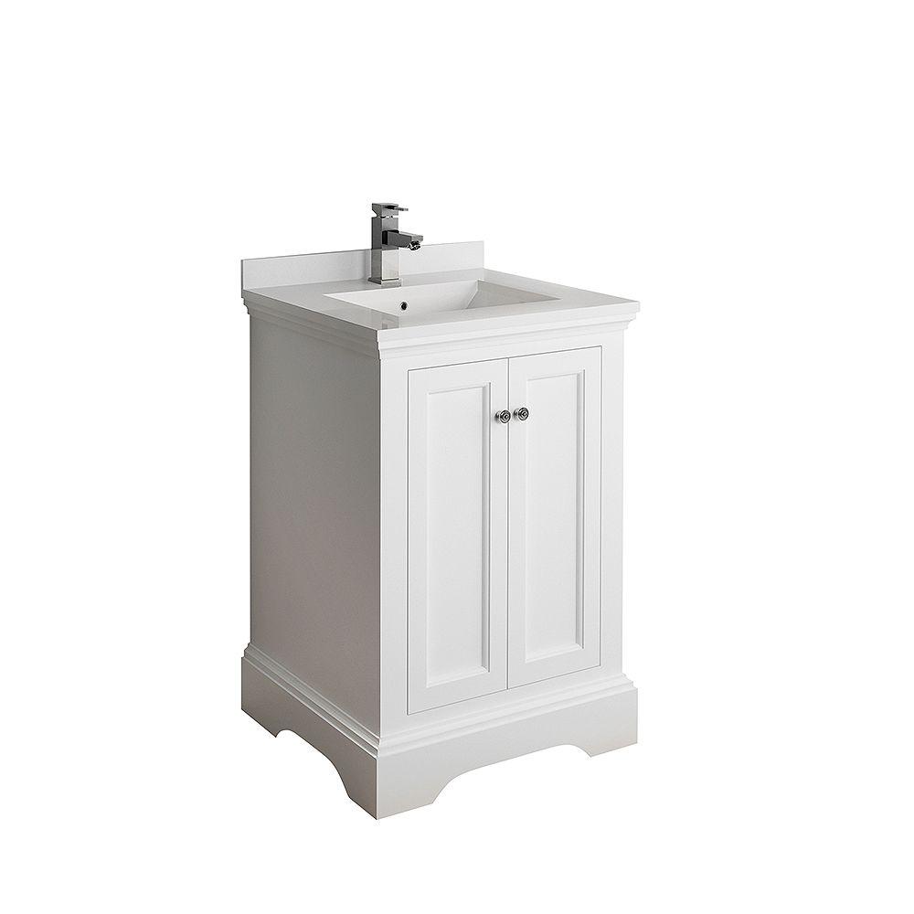 Fresca Windsor 24 inch Matte White Traditional Bathroom Vanity with Quartz Stone Top