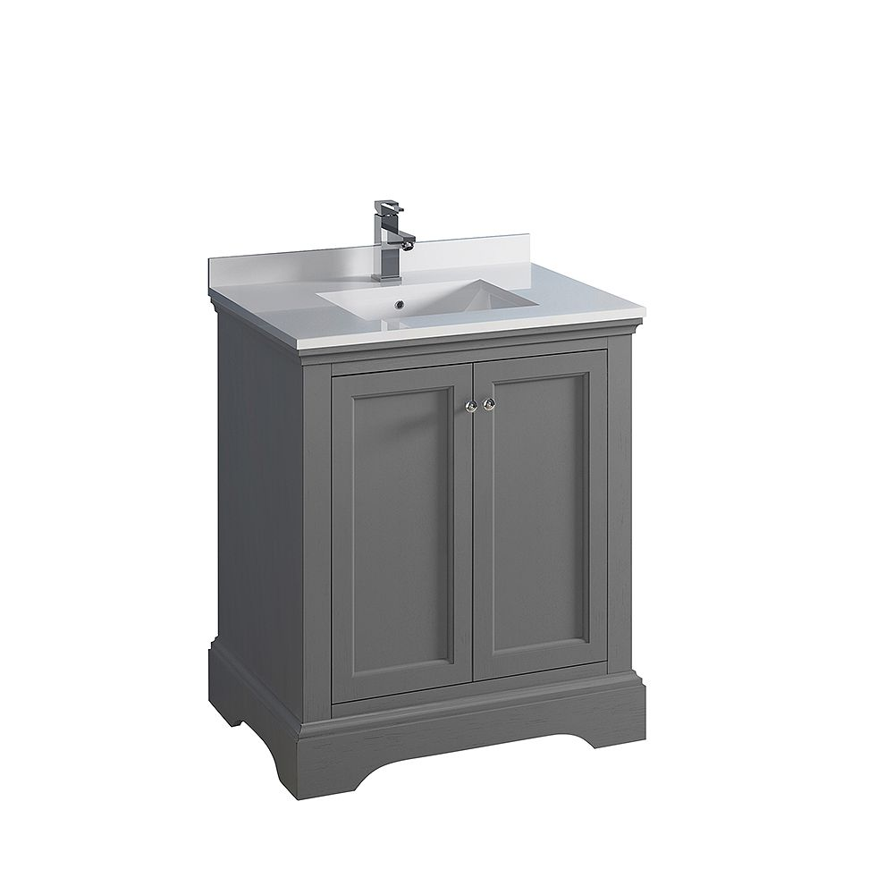Fresca Windsor 30 inch Gray Textured Traditional Bathroom Vanity with Quartz Stone Top