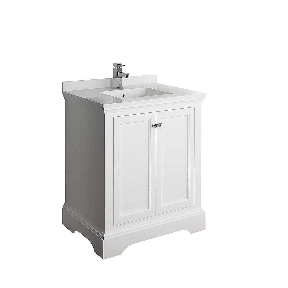 Fresca Windsor 30 inch Matte White Traditional Bathroom Vanity with Quartz Stone Top