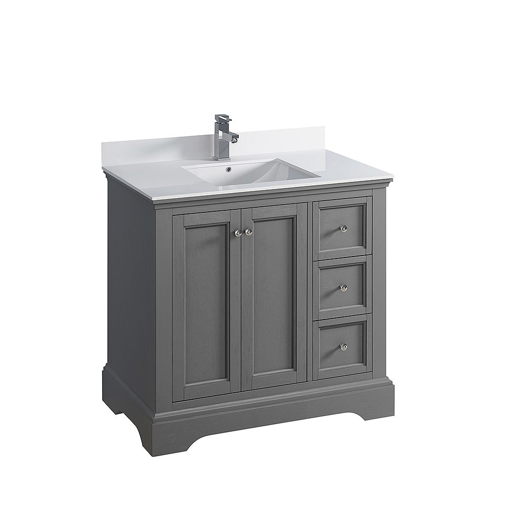 Fresca Windsor 36 inch Gray Textured Traditional Bathroom Vanity with Quartz Stone Top