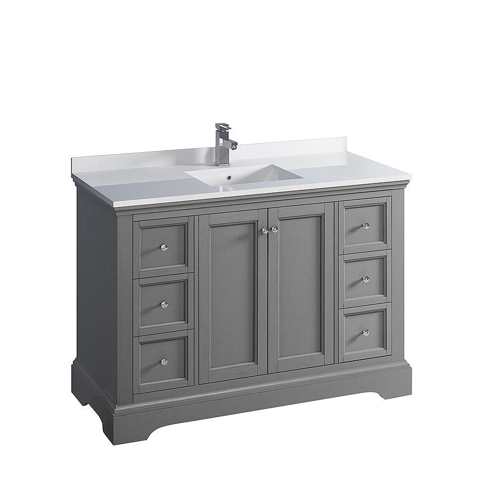 Fresca Windsor 48 inch Gray Textured Traditional Bathroom Vanity with Quartz Stone Top