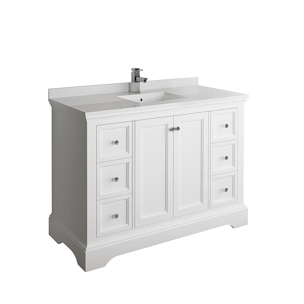 Fresca Windsor 48 inch Matte White Traditional Bathroom Vanity with Quartz Stone Top