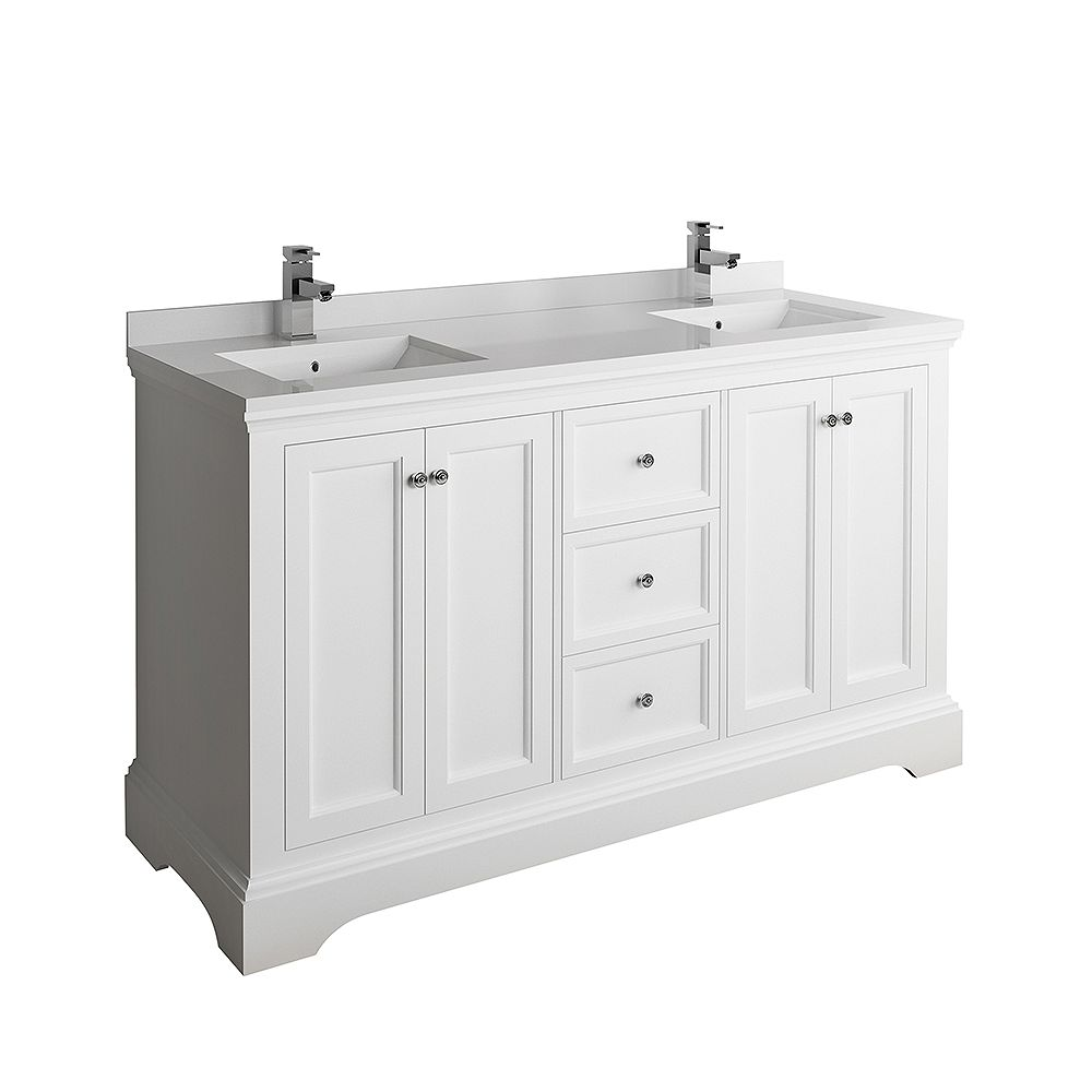 Fresca Windsor 60 inch Matte White Traditional Double Bathroom Vanity with Quartz Stone Top