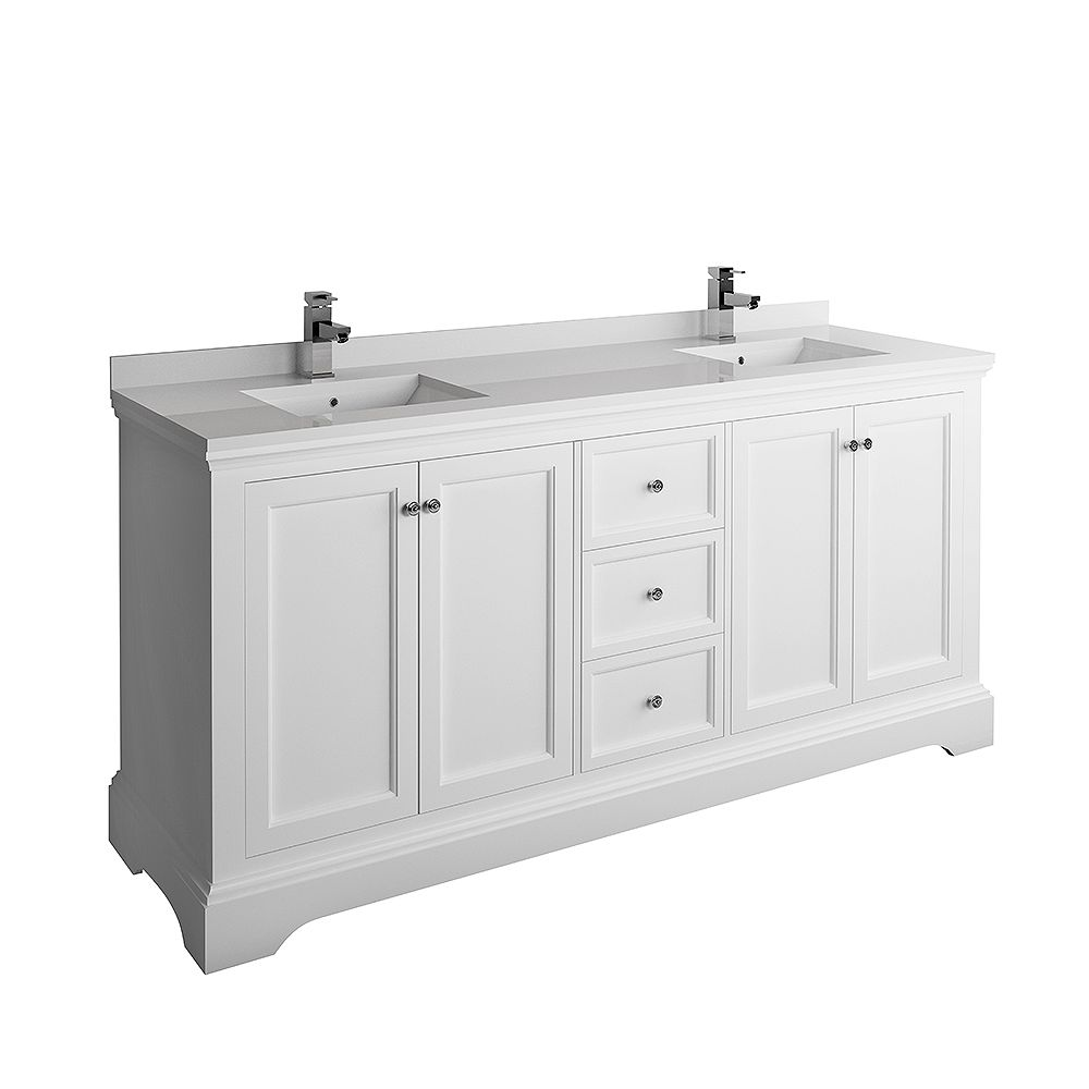 Fresca Windsor 72 inch Matte White Traditional Double Bathroom Vanity with Quartz Stone Top
