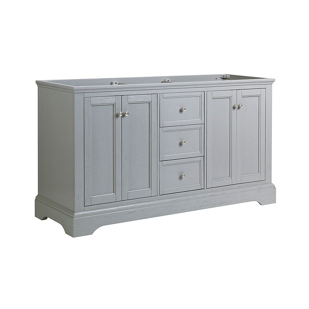 Fresca Windsor 60 inch Gray Textured Traditional Double Bathroom Vanity Only