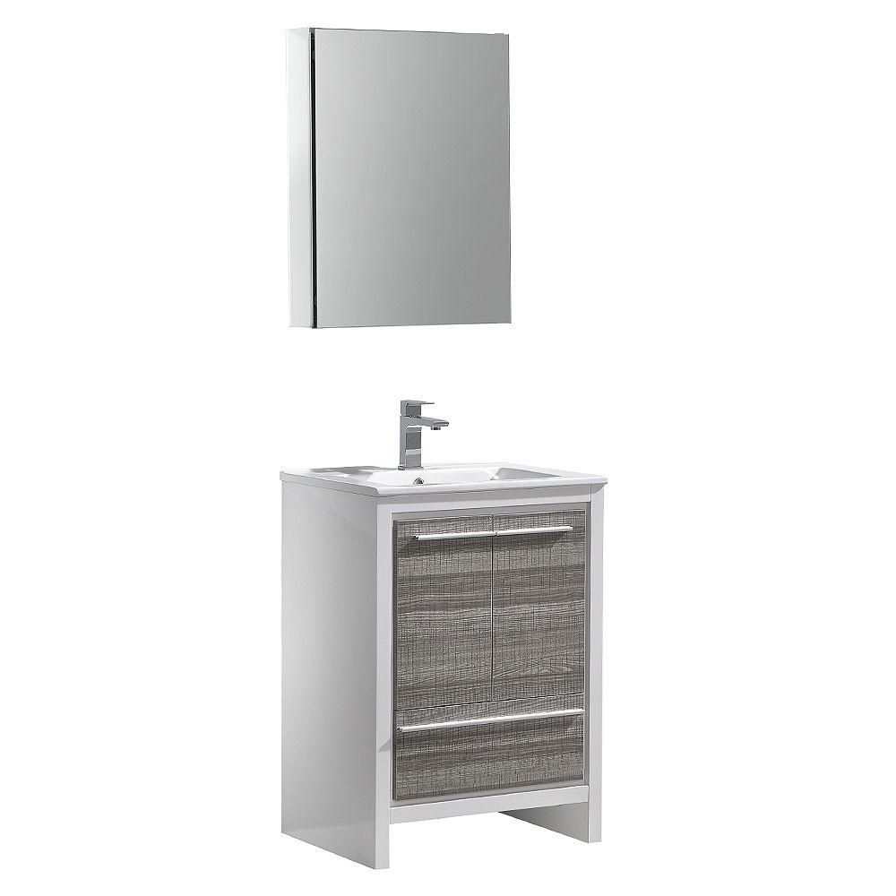Fresca Allier Rio 24 inch Ash Gray Modern Bathroom Vanity with Top and Medicine Cabinet