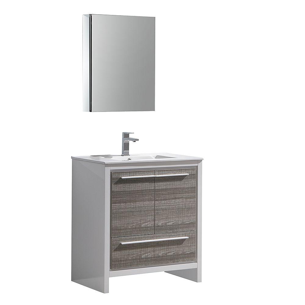 Fresca Allier Rio 30 inch Ash Gray Modern Bathroom Vanity with Top and Medicine Cabinet