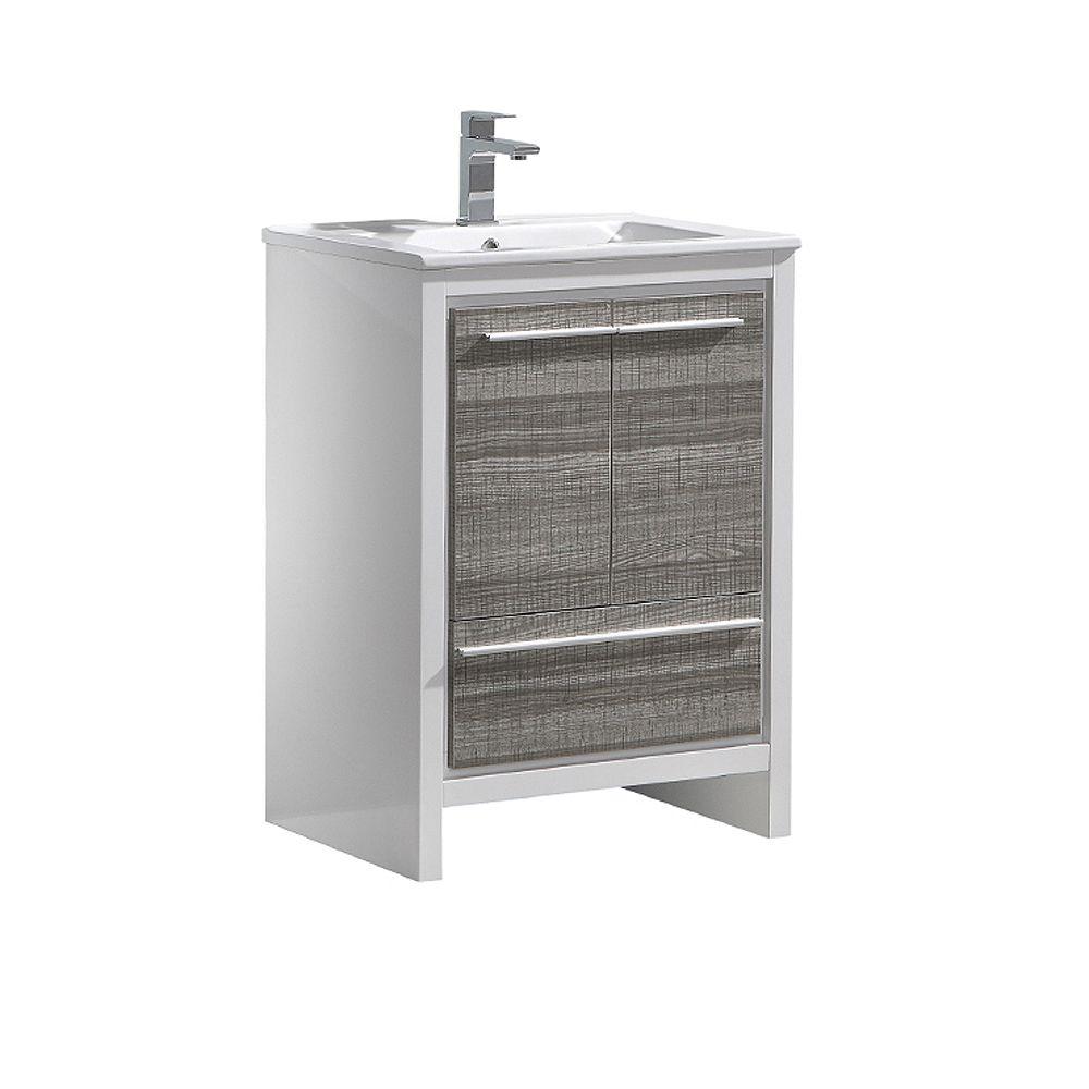 Fresca Allier Rio 24 inch Ash Gray Modern Bathroom Cabinet with Ceramic Sink