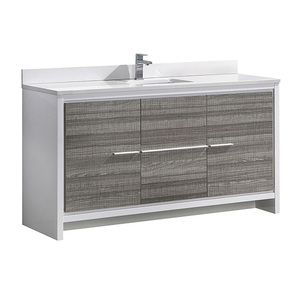 Fresca Allier Rio 60 in. Ash Gray Single Sink Modern Bathroom Vanity with Quartz Stone Top and Ceramic Sink