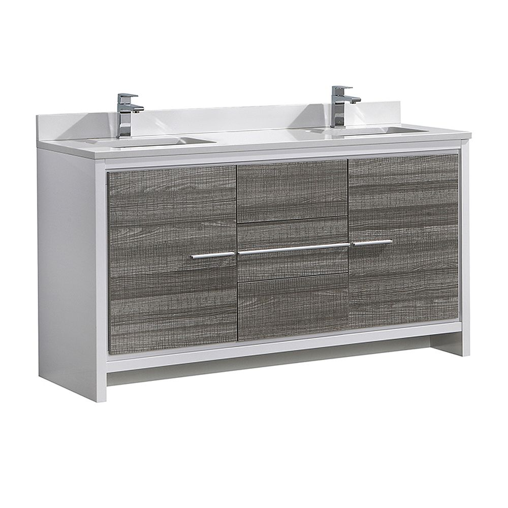 Fresca Allier Rio 60in. Ash Gray Double Sink Modern Bathroom Cabinet with Quartz Stone Top and Ceramic Sink