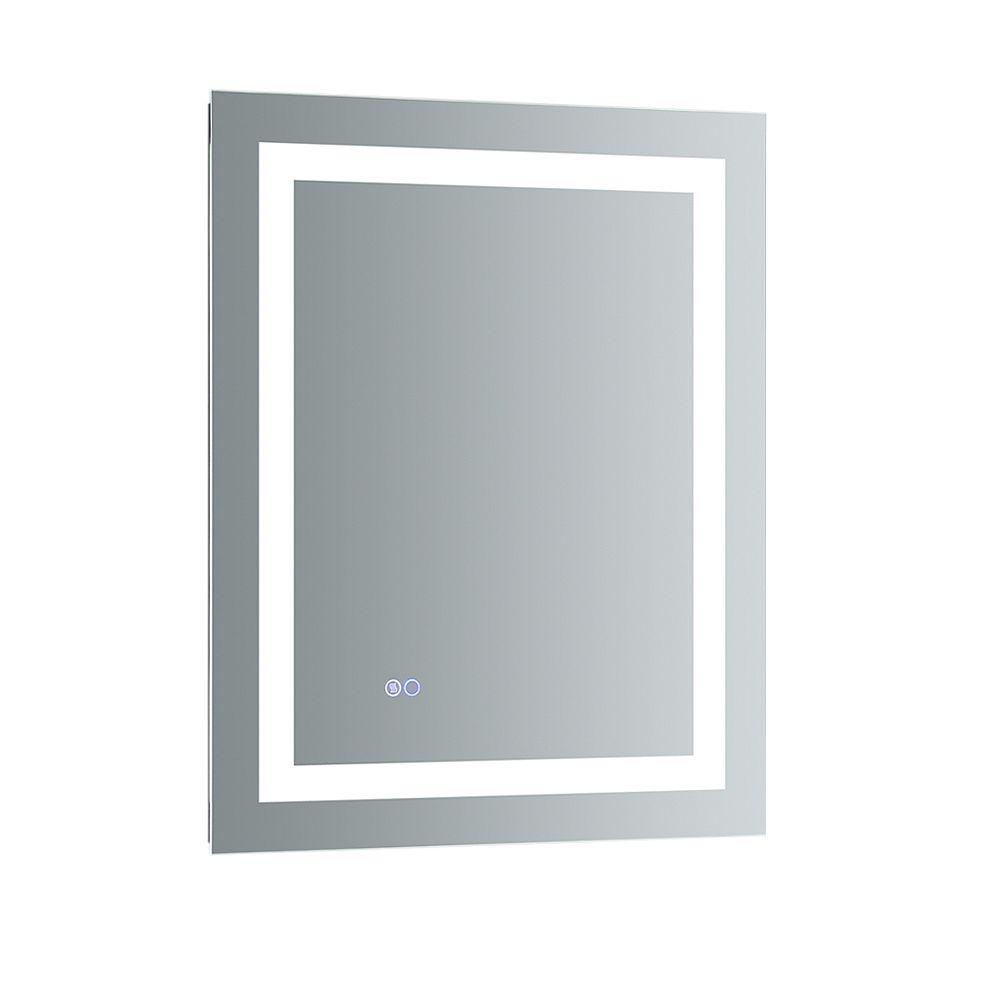 Fresca Santo 24 inch W x 30 inch H Frameless Bathroom Mirror with LED Lighting and Mirror Defogger
