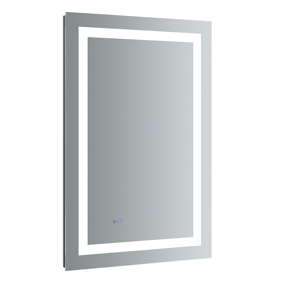 Fresca Santo 24 inch W x 36 inch H Frameless Bathroom Mirror with LED Lighting and Mirror Defogger