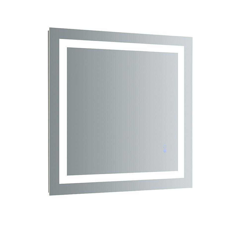 Fresca Santo 30 inch W x 30 inch H Frameless Bathroom Mirror with LED Lighting and Mirror Defogger