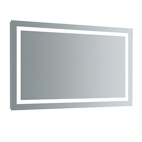 Santo Miroir de salle de bains 48 po x 30 po avec éclairage à DEL et désembueur