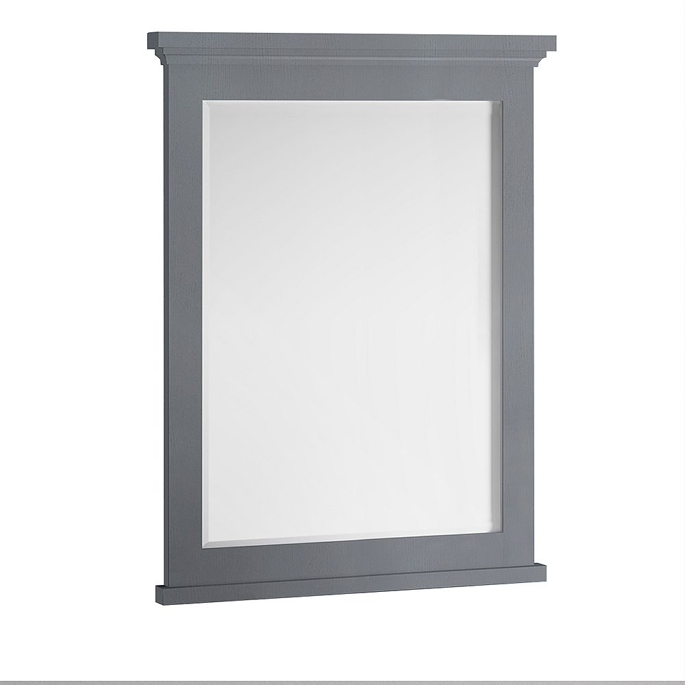 Fresca Windsor 30 inch W x 35 inch H Framed Wall Mirror in Gray Textured