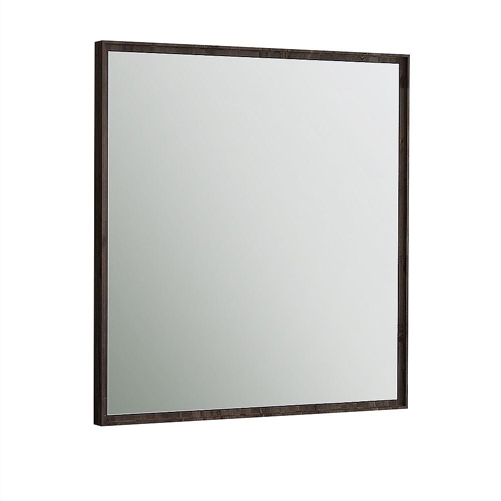 Fresca Formosa miroir mural encadré 32 po L x 32 po H en bois dacacia massif