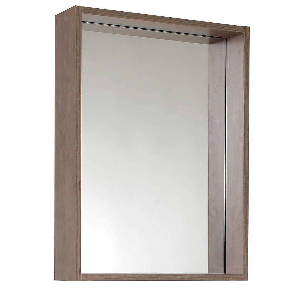 Fresca Potenza 20.50 inch W x 27.50 inch H Side Framed Wall Mirror with Shelf in Gray Oak