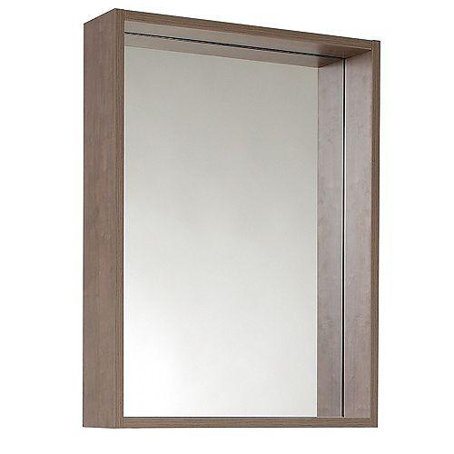 Potenza 20.50 inch W x 27.50 inch H Side Framed Wall Mirror with Shelf in Gray Oak