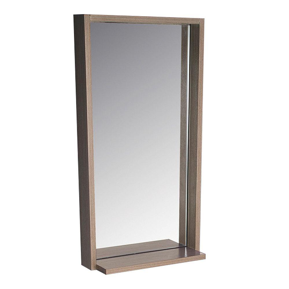 Fresca Allier 16 inch W x 31.50 inch H Framed Wall Mirror with Shelf in Gray Oak