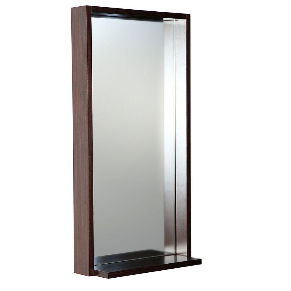 Fresca Allier 16 inch W x 31.50 inch H Framed Wall Mirror with Shelf in Wenge Brown
