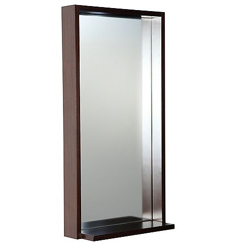 Allier 16 inch W x 31.50 inch H Framed Wall Mirror with Shelf in Wenge Brown